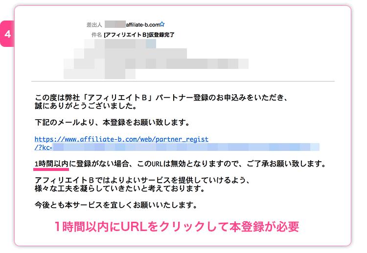 アフィリエイト仮登録メール受信・クリック