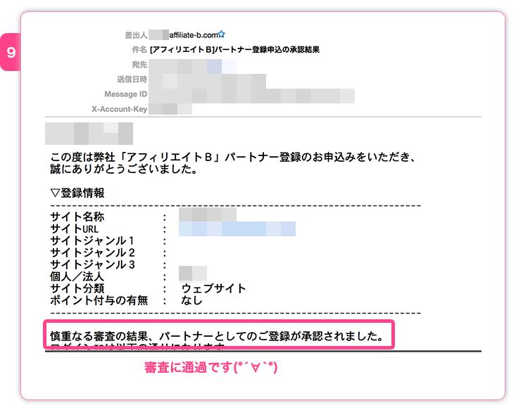 アフィリエイトB審査完了メール